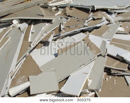 Trash Pile of Drywall Debris on Construction Site
