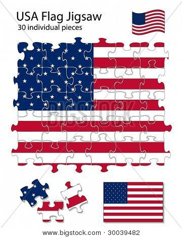 The USA flag incorporated into a 30 piece jigsaw pattern. Each piece can be moved around or deleted separately.