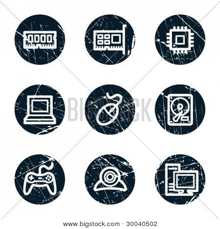 Computer web icons, grunge circle buttons