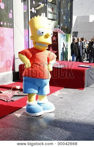 LOS ANGELES, CA - FEB 14: Bart Simpson at a ceremony as Matt Groening receives a star on the Hollywood Walk Of Fame on February 14, 2012 in Los Angeles, California