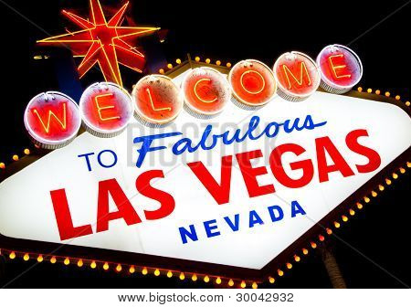 Welcome to fabulous Las Vegas teken bij nacht
