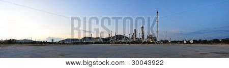 Panorama Petrochemical Plant On Twilight