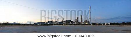 Panorama Petrochemical Plant On Twilight