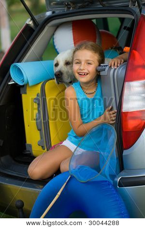 Vacation, Travel - kid with dog ready for the travel for summer vacation
