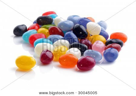 Jellybeans isolated on white background