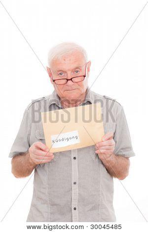 senior man recieving delivery postal of contract