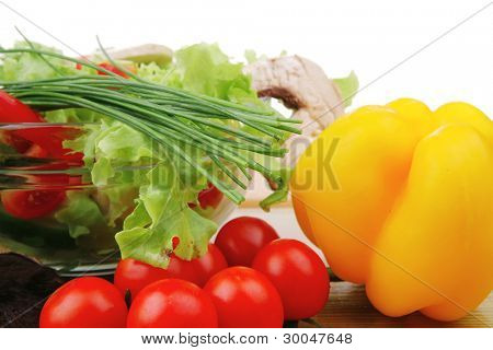 vegetables salad on wooden table