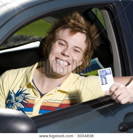 Happy Teen In Car