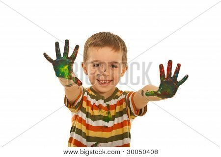 Happy Boy Showing Painted Hands