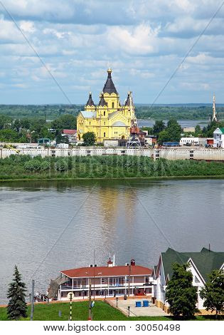 Alexandr Nevsky Cathedral From River Oka. Nizhny Novgorod, Russia