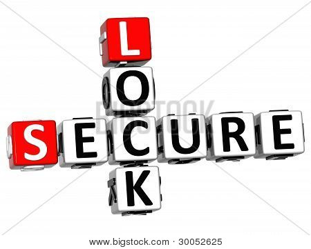 3D Secure Lock Crossword