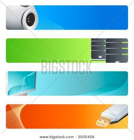 Conjunto de fondos de Banner de alta tecnología