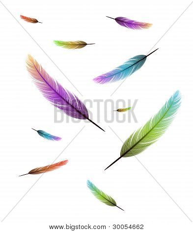 colored feathers falling