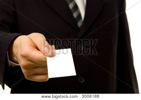 Businessman Is Giving You A Blank Business Card