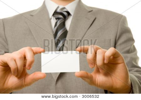 Business Card In Businessman'S Hands