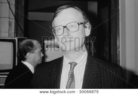 BLACKPOOL, ENGLAND - OCTOBER 10: John Selwyn Gummer, Conservative party Member of Parliament for Suffolk Coastal, attends the party conference on October 10, 1989 in Blackpool, Lancashire.