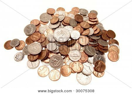 American coins on plain background