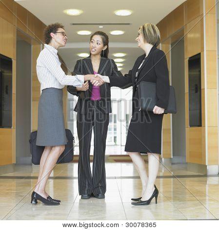 Three businesswomen talking
