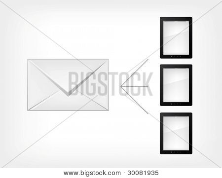 Mail Concept.Tablet PC on Grey Gradient Background. Vector.