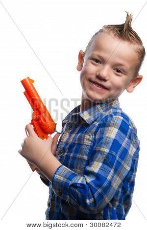 Posing with toy gun