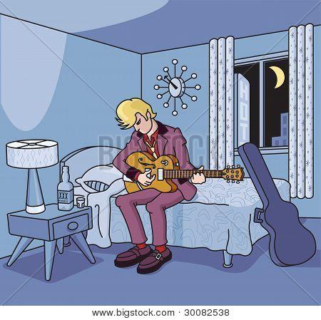 Guitarist in Retro Hotel Room