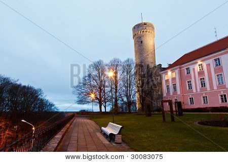 Morning At Long Herman Tower In Tallinn, Estonia