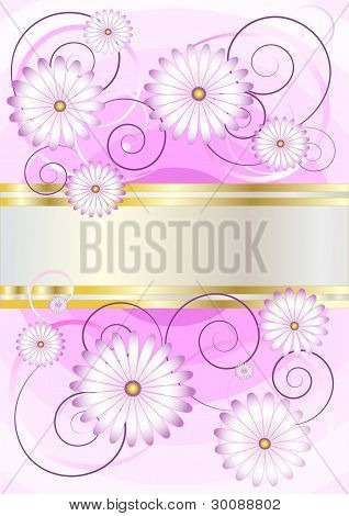 Delicate flowers on a background of shades purple.Banner.