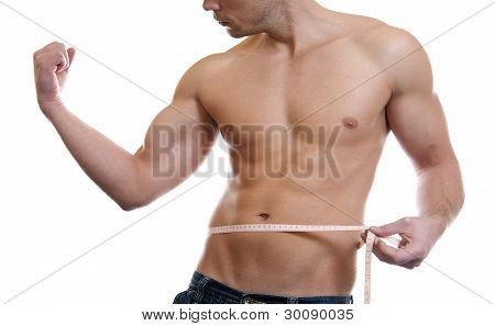 Muscular Man Measuring Waist