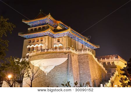 Night view of The Zhengyangmen Gatehouse. Beijing, China