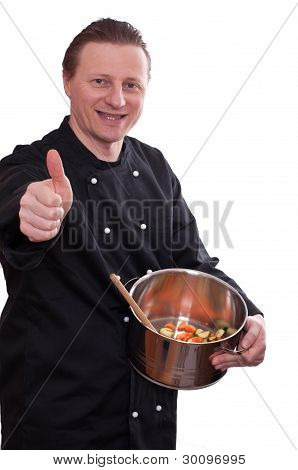Cook With A Pot Is Holding His Thumb Up