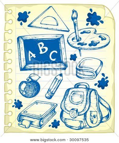 Página do bloco de notas com desenhos de escola 1 - ilustração do vetor.