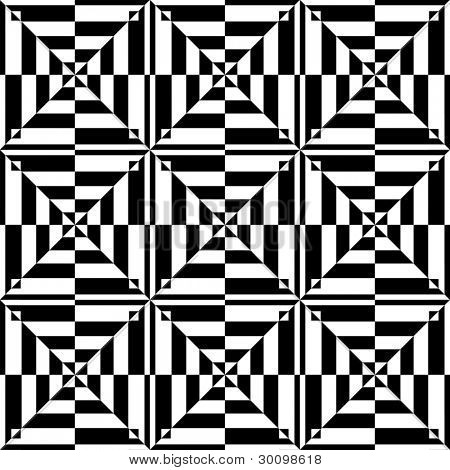 Op art design. Seamless geometric pattern with tessellated texture. Vector illustration.