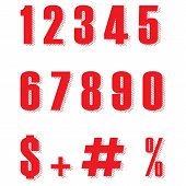 Set Of Red Ten Numbers Form Zero To Nine, Number Flat Design. Red Color Numbers And Percent  Sign Ve poster