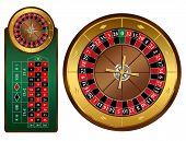 image of roulette table  - European style roulette wheel and table vector illustration - JPG