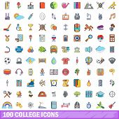 100 College Icons Set. Cartoon Illustration Of 100 College Icons Isolated On White Background poster