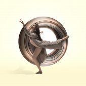Graceful Ballet Dancer Or Classic Ballerina Dancing Isolated On Studio Background. Woman Dancing In  poster
