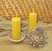 pic of taper  - the hand rolled natural beeswax candles taper  - JPG