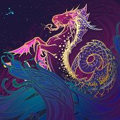 Zodiac Sign Capricorn. Fantastic Sea Creature With Body Of A Goat And A Fish Tail. Ocean Waves And A poster
