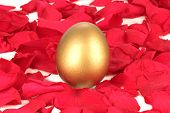 stock photo of business success  - Golden egg on a bed of rose petals - JPG