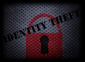 Red Lock With Identity Theft Text On Textured Background poster