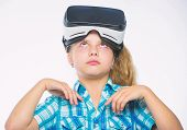 Virtual Education For School Pupil. Happy Kid Use Modern Technology Virtual Reality. Get Virtual Exp poster