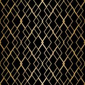 Vector Golden Geometric Seamless Pattern With Delicate Grid, Net, Thin Lines, Rhombuses, Diamonds. A poster
