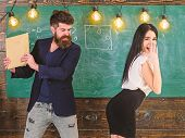 Schoolmaster Punishes Sexy Student With Slapping On Her Buttocks With Book. Teacher Spanking Girl In poster