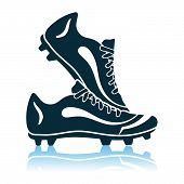 Soccer Pair Of Boots. Shadow Reflection Design. Vector Illustration. poster