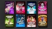 Collection Of Comedy Show Poster Cards Set Vector. Microphones, Bright Confetti, Multicolored Curtai poster