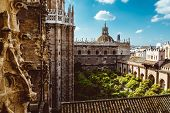Aerial View Of Seville City And Cathedral Of Saint Mary Of The See In Seville As See From Seen From poster