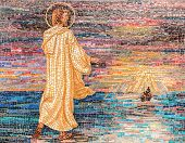 Religious Mosaic Of Jesus Christ Walking On The River Waters. From A Distance A Boat.the Painting Is poster