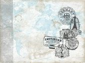 Passport World Travel Stamps on Grunge Background