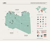 Vector Map Of Libya. High Detailed Country Map With Division, Cities And Capital Tripoli. Political  poster