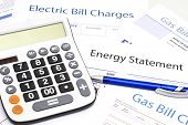 Energy Efficiency Concept And Energy Bill Papers poster